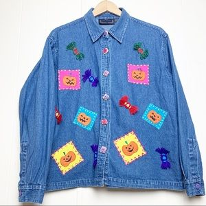 Vintage Life Style Halloween Wearable Art Denim